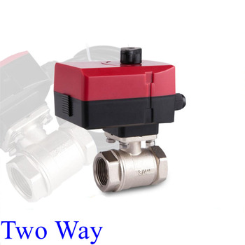 Electric Motorized Vall 2-Way Manually Automatically AC 220V 24V DN15-DN32 Ball Valve L-type image