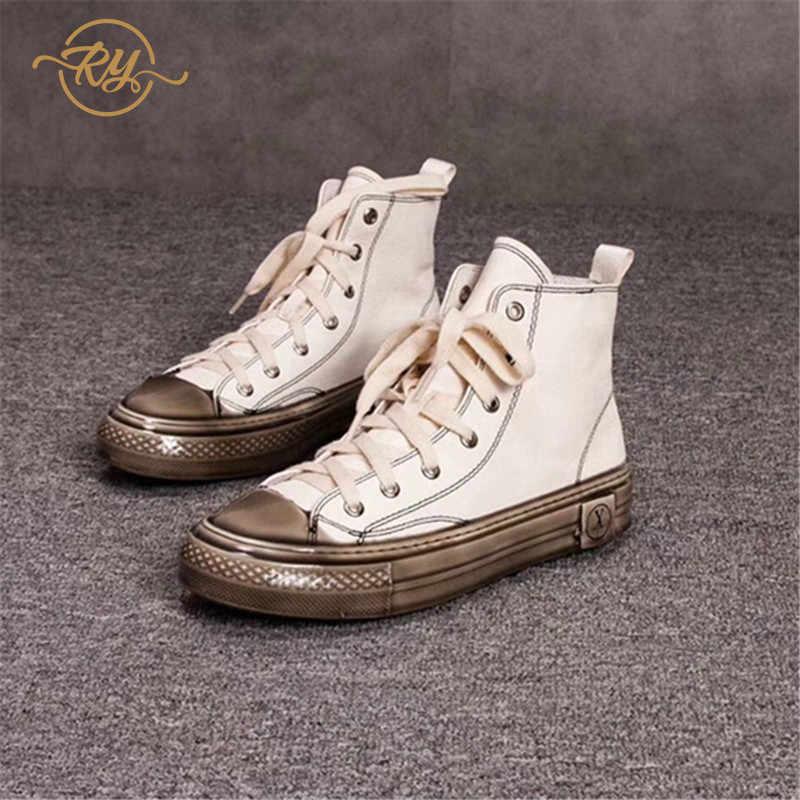RY-RELAA delle donne delle scarpe da tennis 2018 di modo Genuino scarpe In Pelle di lusso delle donne designer bianco scarpe da tennis delle donne scarpe casual