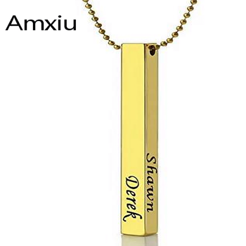 Amxiu Custom Stainless Steel  Bar Pendant Necklace Engrave 1-4 Names Necklace for Women Men Jewelry Personalized Gifts недорого