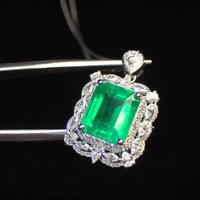 Fine Jewelry Real 18K Gold AU750 G18K Natural Emerald Pendant Emearld 2.78ct Gold Diamond Pendant Gemstone Necklaces for Women