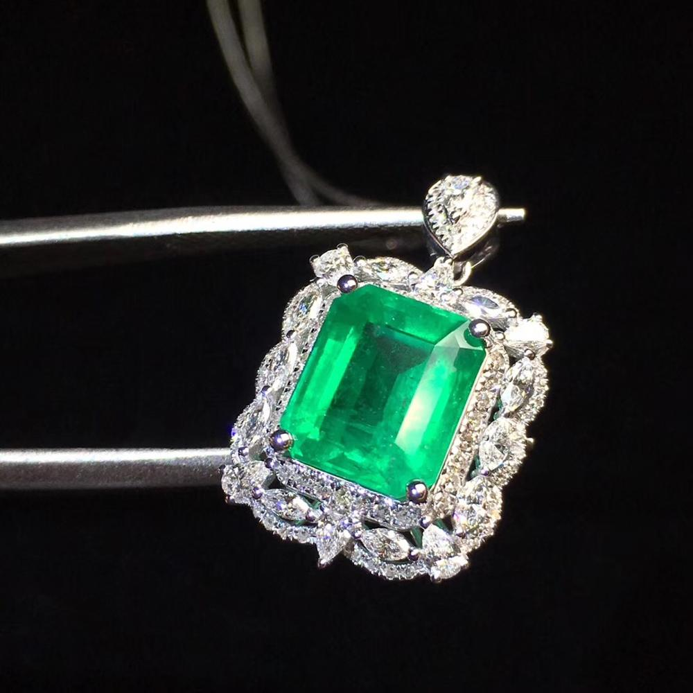 Bijoux fins véritable or 18K AU750 G18K pendentif émeraude naturel Emearld 2.78ct or diamant pendentif pierres précieuses colliers pour femmes