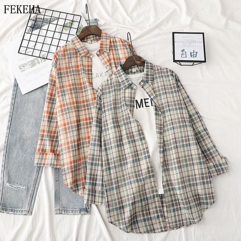Summer Women Plaid Shirts Long Sleeve Blouses And Tops Loose College Style Thin Sun Protection Clothing Female Girls Clothes