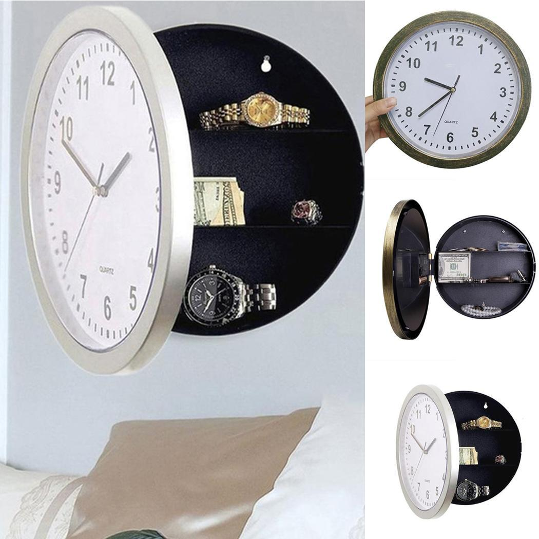 Hidden Safe Clock Stash Box Money Jewelry Wall With Secret Round Clock Compartment Stash Box Living Room,Home