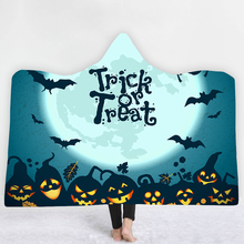3D Printed pumpkin Hooded Blanket for Adult Gothic Halloween Sherpa Fleece Wearable Throw Microfiber Bedding