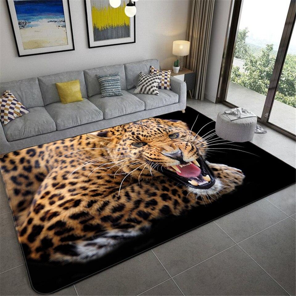 3D леопардовый узор, большие ковры для гостиной, роскошные коврики для животных, спальни, мягкая губка, ванная комната, кухня, напольный коври...