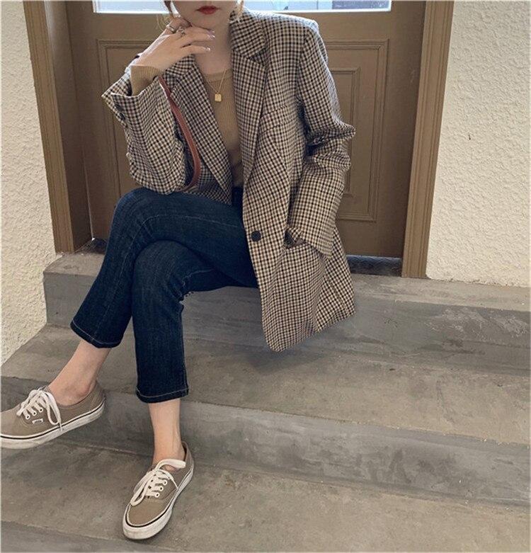 Autumn Winter Women Plaid Blazers Jackets Work Office Lady Suit Slim Business Female Blazer Coat Talever ka1138