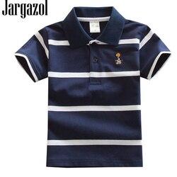 Jargazol/рубашка-поло детские летние рубашки с короткими рукавами Топы в полоску для мальчиков, одежда для маленьких детей модные наряды костюм...