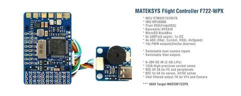 Mateksys Matek F722-WPX Flight Controller STM32F722 MPU6000 DPS310 Pixel OSD SD Blackbox F722 Wing updated
