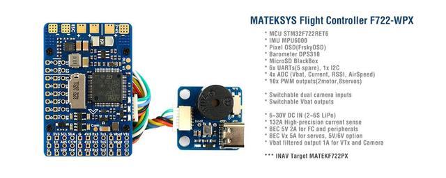 Контроллер полета Mateksys Matek F722 WPX STM32F722 MPU6000 DPS310 Pixel OSD Blackbox F722