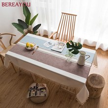 Modern Table Cloth Lace Linen Tablecloth With Tassel Thick Rectangular Wedding Dining Table Cover Tea Cloth Decor nappe de table