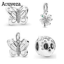 Novo estilo de prata cor borboleta crânio cabeça frisada charme caber pandora encantos originais 925 pulseira de prata diy jóias femininas