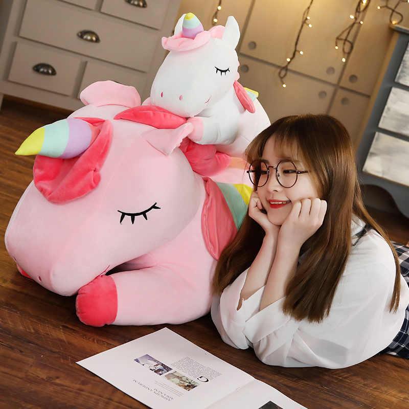 Dropshipping dev tek boynuzlu at pelüş oyuncak yumuşak oturan dolması popüler karikatür Unicorn bebek hayvan at çocuk için oyuncak xmas hediye