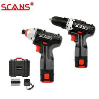 SCANS K221 Tools 16V Cordless Power Tools Li ion Drill and Compact Driver Combo Kit with 2*2.0Ah Batteries