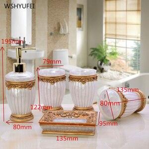 Image 2 - 패션 고품질 수 지 욕실 5 조각 세트 위생 도자기 키트 욕실 워시 세트 욕실 세트 비누 접시 아름 다운