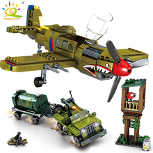 HUIQIBAO 649Pcs WW2 US Army P 40 Fighter Building Blockเครื่องบินทหารCity Olaneรถบรรทุกรถก่อสร้างอิฐของเล่นเด็ก