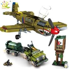 HUIQIBAO 649pcs WW2 US Army P 40 Fighter Building Block Airplane Military City Olane Truck Car Bricks Construction Children Toy