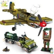 Huiqibao 649 pçs ww2 eua exército P 40 lutador bloco de construção avião militar cidade olane caminhão carro tijolos construção crianças brinquedo