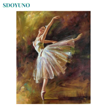 SDOYUNO 60x75cm DIY Oil Painting By Numbers Ballet Dancer Picture By Numbers On Canvas Frameless Digital paint Figure Home Decor image