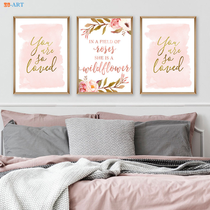 Blush Gold Watercolor Canvas Painting Light Pink Nursery Print Love Quote Poster Wall Art Canvas Framed Girl Room Home Decor