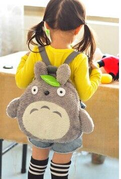 Mochila de hombro de totoro de dibujos animados para niños, 1 unids/lote, estilo coreano, hojas verdes, bolso gris pequeño, a la moda, suave