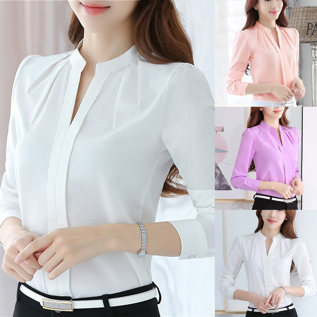 Women Brief Office Work Wear V Neck Shirts Long Sleeve Casual Tops Blouse white shirt women womens blouses and tops High quality 2