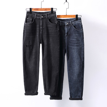 2021-autumn-and-winter-new-products-thin-velvet-thickened-womens-jeans-fake-holes-are-thinner-harlan-daddy-pants