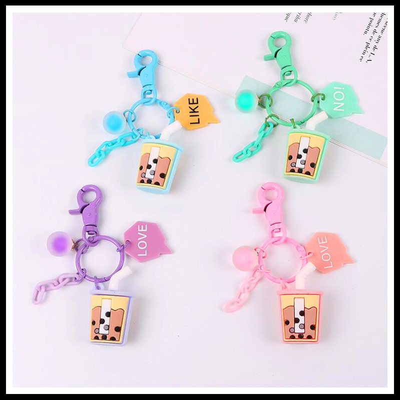 2019 NEW Cute Bubble Tea Airpods Pendant Car Keychains Women Girls Charm Bags Key Chain Accessories Lovers Key Ring Wholesale