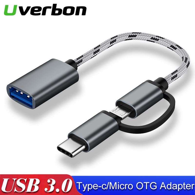 2 In 1 USB C To USB Adapter Type C OTG Cable USB C Micro USB Male To USB 3.0 Female Cable Adapter For MacBook Pro Samsung S9 OTG