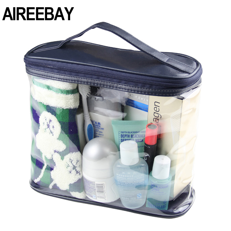 AIREEBAY New Waterproof Men Makeup Bag Transparent Travel Organizer Large Cosmetic Bag Necessaries Case Bussiness Wash Bath Kit