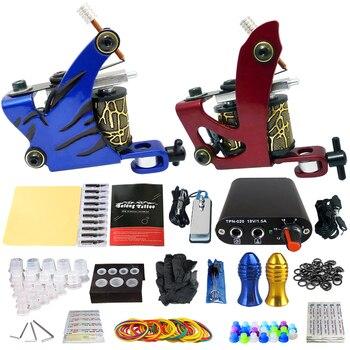 цена на Professional Complete Tattoo Machine Tattoo Kit 2 Tattoo Machines Power Supply Box Beginner Body Art Supplies Needles Tips Kit