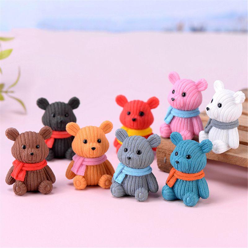 1 Set New Popular Party Home Decoration Accessories Cute Plastic Tedy Bear Miniature P31B