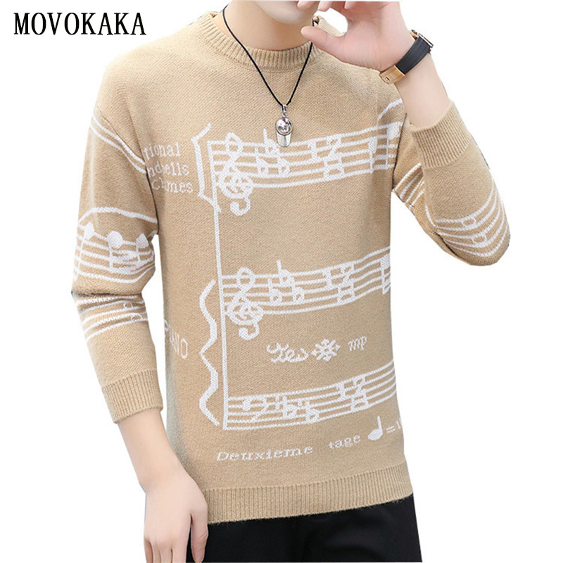 Fashion Autumn Winter New Sweater Men Knit Pullover Men Thick Sweater Male Long Sleeve Sweater Man Musical Note Jumpers Pull Men
