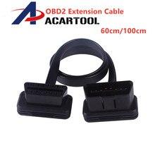 60 см 100 см тонкий как лапша OBDII OBD2 16Pin ELM327 мужчин и женщин Локоть расширение OBD 2 авто разъем диагностического кабеля