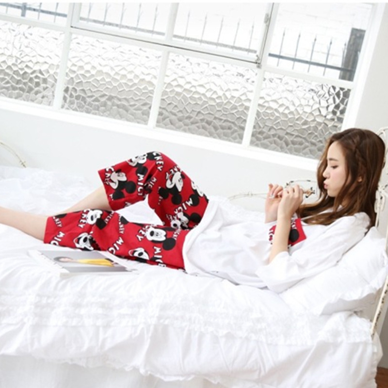 2019 Fashion Lovely Leisure Two Piece Set Mickey Printing Indoor Clothing Home Suit Sleepwear Winter Pajamas Woman Pijama Mujer 33