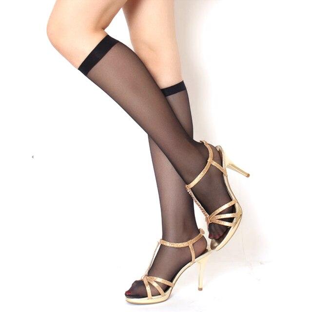 3/4/5Pair High Elastic Women Long Socks Sexy Thin Mesh Knee Socks Hosiery Nylon Black Stockings Breathable Knee Girls Socks