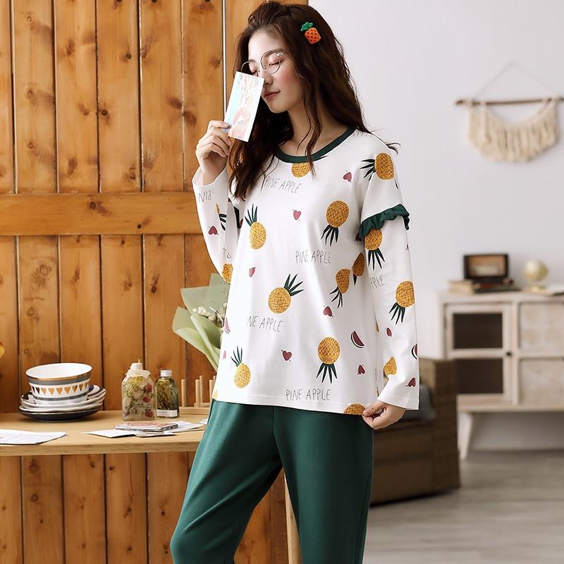 Image 4 - Woman Pajamas Sets Fashion Pajamas Autumn Winter Women Cotton Pajama Sets Cartoon Home Wear Suits Long Sleeves Pajamas for FemalPajama Sets   -
