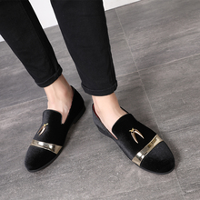 fashion party and wedding handmade men loafers men velvet shoes Leaves and gold buckle men dress shoe mens flats ST384