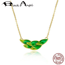 Authentic 925 Sterling Silver Green Enamel Spring Leaves Gold Color Pendant Necklace for Women Fine Jewelry bisaer authentic 925 sterling silver gold color mosaic red cz heart pendant necklace for women valentine s gifts jewelry gan014