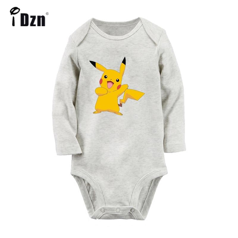 Desenhos animados pokemon bonito feliz feliz pikachu design bebê recém-nascido bodysuit da criança manga longa onsies macacão roupas de algodão