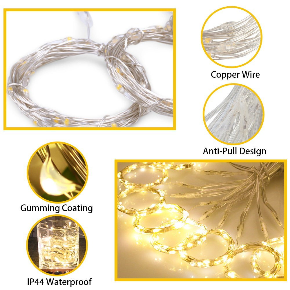 cheapest Solar Powered 300 LED Window Curtain Fairy Lights Copper Wire String Lights for Outdoor Wedding Party Garden Bedroom Decoration