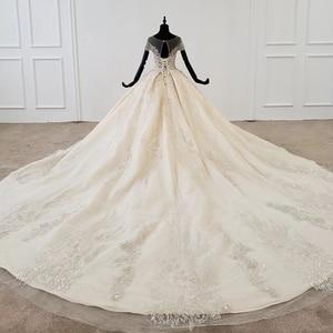 Image 3 - HTL1107 boncuk gelin elbise gelinlik şampanya o boyun payetli püskül kristal korse düğün elbisesi kapaklı kollu suknie slubne