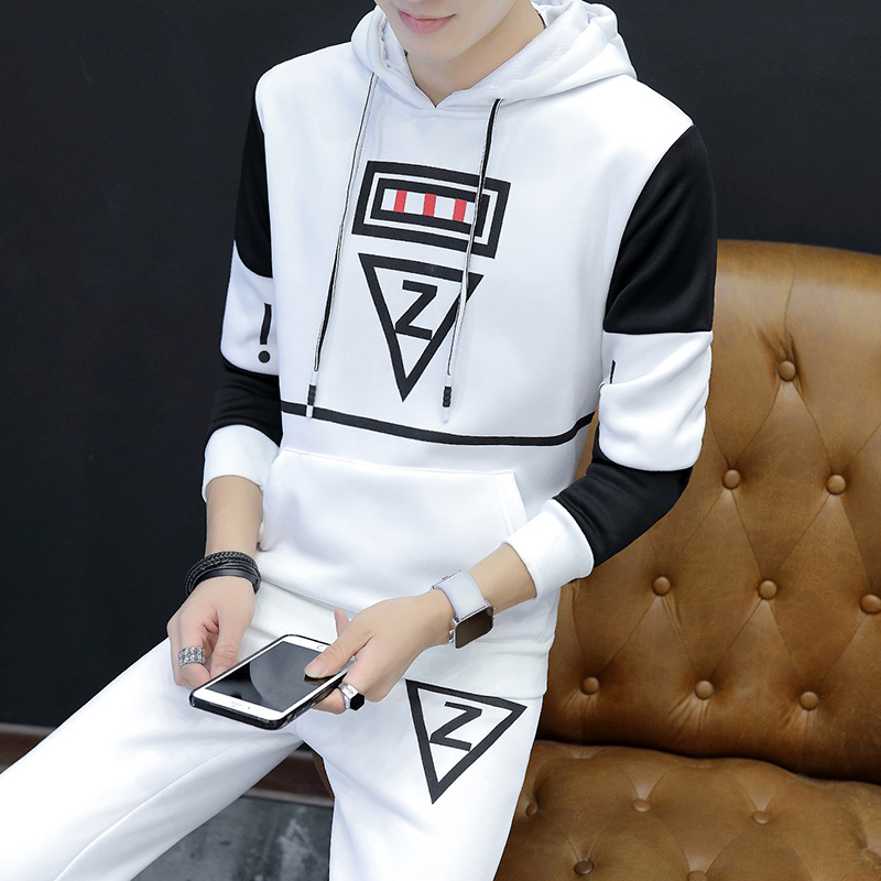 Spring And Autumn Set Men's Hoodie Teenager Coat Leisure Sports Suit Two-Pack Men's Fashion