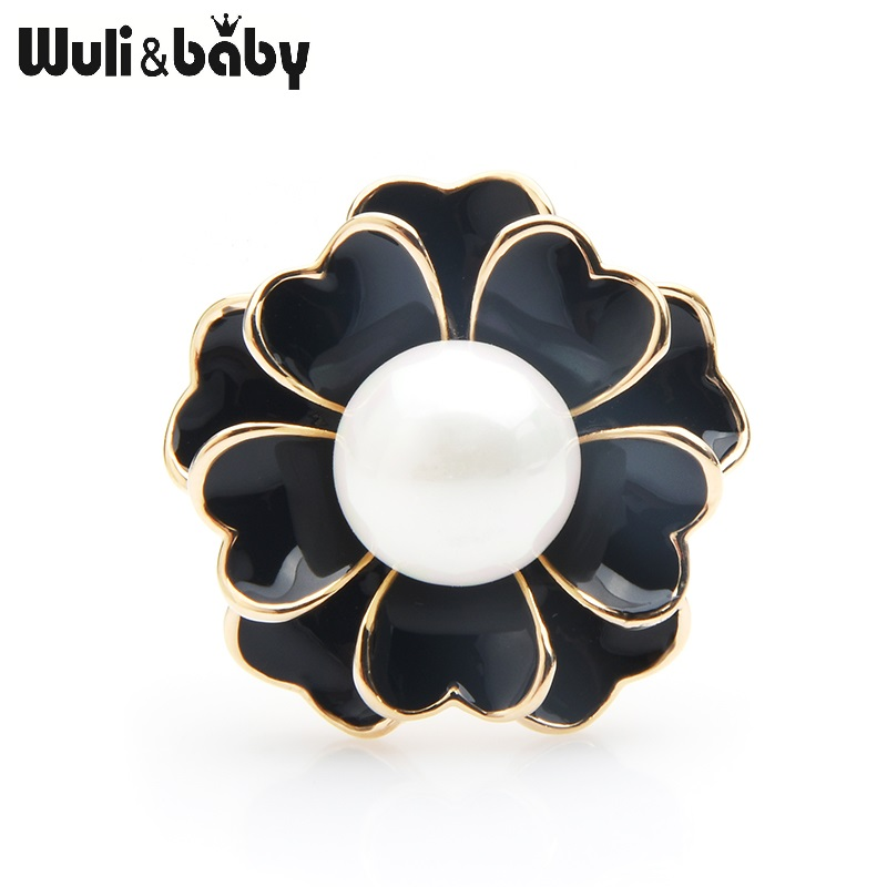 Wuli&Baby Enamel Original Brooch Pins Camellia Flower For Women Jewelry Accessories Christmas New Year Gift 2019