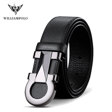 Williampolo 2020 100% Cowhide Leather Mens Automatic Buckle Belt Luxury Brand Casual Waist Belt PL18226 28P