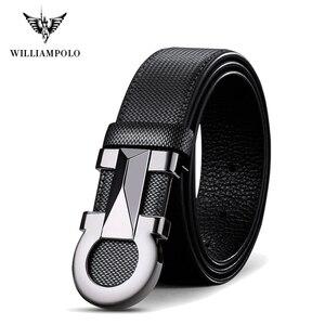 Image 1 - Williampolo 2020 100% 牛革レザーメンズ自動バックルベルト高級ブランドカジュアルウエストベルト PL18226 28P