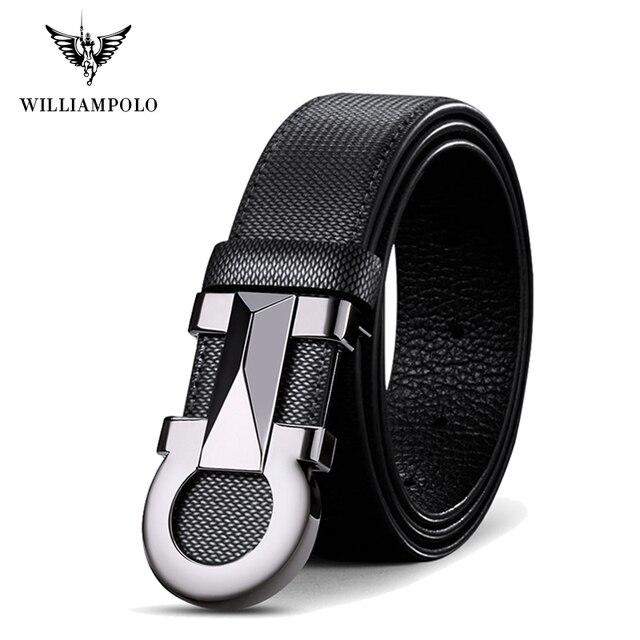 Williampolo 2020 100% 牛革レザーメンズ自動バックルベルト高級ブランドカジュアルウエストベルト PL18226 28P