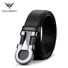 Williampolo ceinture en cuir pour hommes, ceinture à boucle automatique, marque de luxe, 2020 100%, ceinture à la taille, décontracté