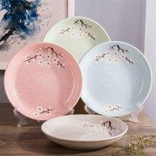 Japanese Floral Round Ceramic Dinner Plate Glaze Cherry Blossom Porcelain Dish Steak Fruit Dessert Tray Snack Dishes