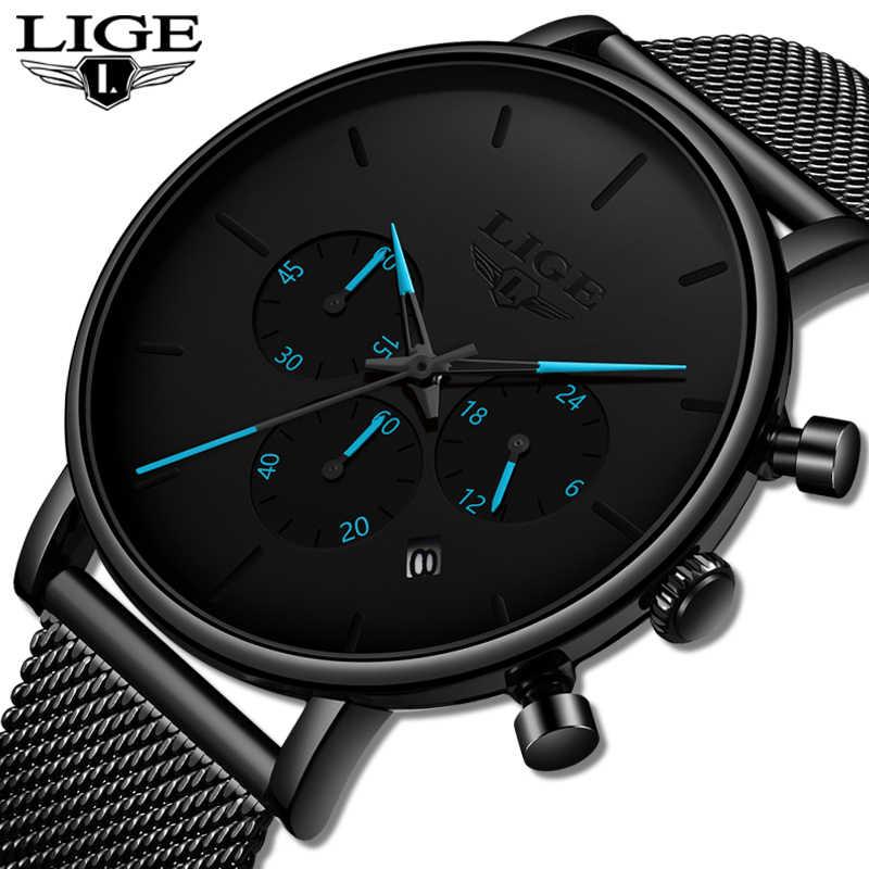 Herren Uhren LIGE Top Marke Luxus Wasserdicht Ultra Dünne Datum Uhr Männlichen Stahlband Casual Quarzuhr Männer Sport Handgelenk uhr