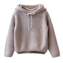 Дети для девочек дутая куртка с капюшоном зимний теплый свитер на осень, для девочек, детская Вязанная одежда «Crochet Повседневное топы костюм с длинными рукавами для малышей, модная одежда